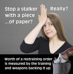 """Stop a stalker? With a piece of paper?"" Image copyright Oleg Volk, www.a-human-right.com. Used by permission."