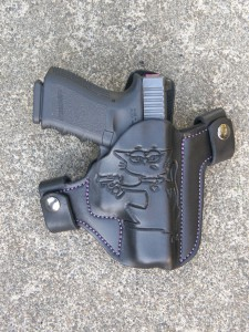 Soteria Leather holster with engraved Cornered Cat logo