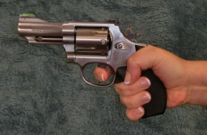 A high grip on the gun can reduce muzzle rise and make it easier to shoot multiple shots quickly.