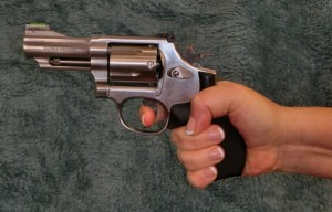 ... while a slightly lower grip on the gun can improve your leverage on the trigger.
