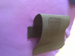 Close up of squishy holster. Notice the orientation of the Velcro.