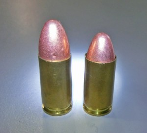 The round of ammunition on the left is healthy and the length it should be. The one on the right has suffered a slight setback.